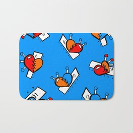 Hearts with Stitches - Blue Red Orange - Bright Blue Bath Mat