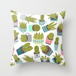 Abstract pink coral green floral cactus plants Throw Pillow