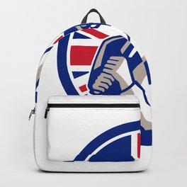 British Cricket Batsman Batting Union Jack Flag Icon Backpack