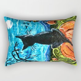 Cat in Pumpkin Patch Rectangular Pillow