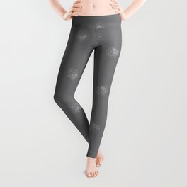 King Protea Outline - Grey and White Leggings