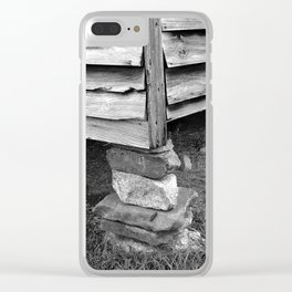 Vintage Black And White Structure Clear iPhone Case