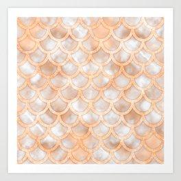Rose Gold Marble Mermaid Scales Art Print