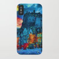 edinburgh iPhone & iPod Cases featuring Edinburgh Evening by E.M. Shafer
