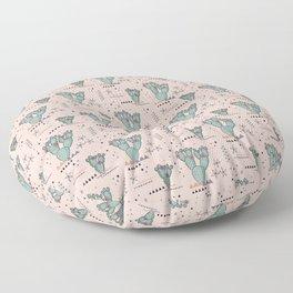 Boho Tribal Cactus with desert flowers - blush Floor Pillow