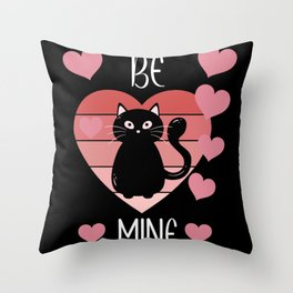 Be Mine Love Heart Cat Valentines Day Throw Pillow