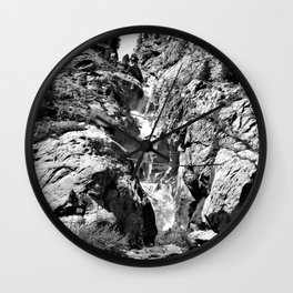 waterfall rope bridge kaunertal alps tyrol austria europe black white 1 Wall Clock