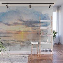 Sunset at Breakwater Lighthouse Watercolor Coastal Wall Mural