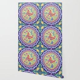 Spring Flowers and Butterflies Mandala by Soozie Wray Wallpaper