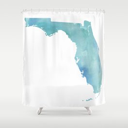 Watercolor State Map - Florida FL blue green Shower Curtain