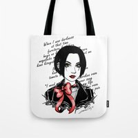 punk rock Tote Bags featuring Punk Rock Queen  by The Art of Leena Cruz :)