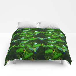 Lovebirds and tropical leafs Comforters