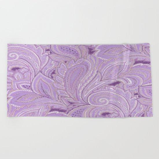 paisley purple Beach Towel