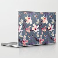 background Laptop & iPad Skins featuring Butterflies and Hibiscus Flowers - a painted pattern by micklyn