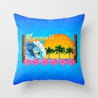 hawaiian Throw Pillows featuring Hawaiian Surfing by MacDonald Creative Studios