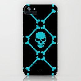 Skull and bones teal on black iPhone Case