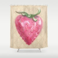 strawberry Shower Curtains featuring Strawberry by Naomi Shingler