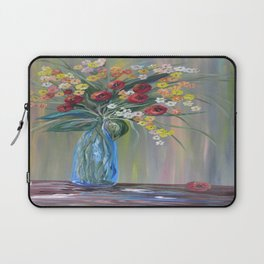 Flowers in a Blue Vase Soft Focus Laptop Sleeve