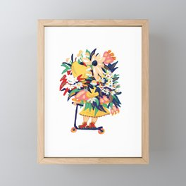 Floral Scooter Babe Framed Mini Art Print