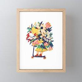 Floral Scooter Babe Framed Mini Art Print
