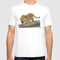 Leopard White MEDIUM Mens Fitted Tee