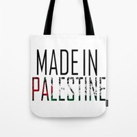 palestine Tote Bags featuring Made In Palestine by VirgoSpice
