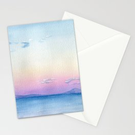 Blue sea watercolor Abstract painting seascape landscape wave art sky pink cloud sunset sunrise Stationery Cards