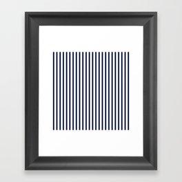 Navy Blue Breton V Stripes Minimal Framed Art Print