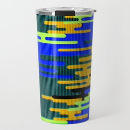 Blue Green Yellow 8Bit Clouds Travel Mug