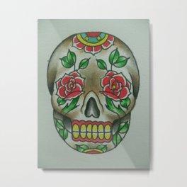 Rose Sugar Skull Metal Print