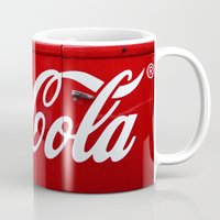 coca cola Mugs featuring Coca Cola  by Lia Bernini