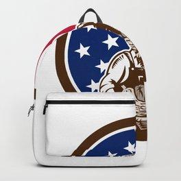 American Female Organic Farmer USA Flag Icon Backpack