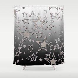 Gray gradient , star gradient Shower Curtain
