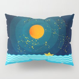 035 Owl's egg travelling the sea at night Pillow Sham