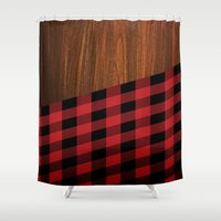 wooden Shower Curtains featuring Wooden Lumberjack by Nicklas Gustafsson