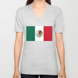 Flag of Mexico - alt version with seal insert Unisex V-Neck