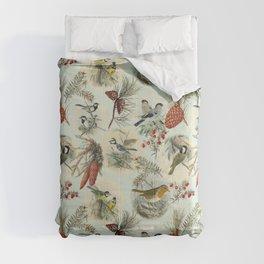 FOREST BIRDS WILDLIFE ILLUSTRATON COLLAGE - AQUA   Comforters