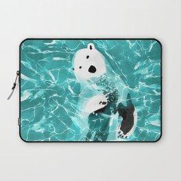Playful Polar Bear In Turquoise Water Design Laptop Sleeve