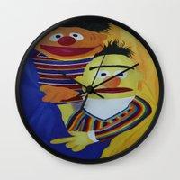 sesame street Wall Clocks featuring Sesame Street Bert and Ernie by ArtSchool