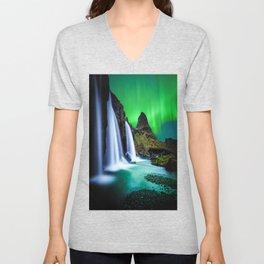 Aurora Borealis Waterfall Unisex V-Neck