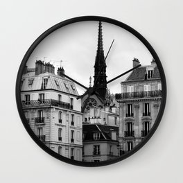 A View of Sainte Chapelle from the Right Bank of the Seine River, Paris, France Wall Clock