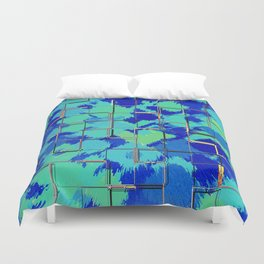Abstract Squares Blue & Green Duvet Cover