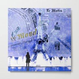 Paris News Blue Metal Print