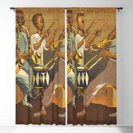 African American Masterpiece 'Harlem Musicians' WPA musical painting by Elizabeth Olds Blackout Curtain