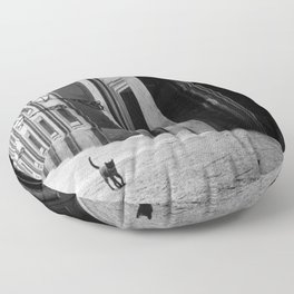 Two French Cats, Paris Left Bank black and white cityscape photograph / photography Floor Pillow