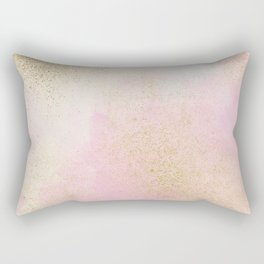 Pretty In Pink And Gold Delicate Abstract Painting Rectangular Pillow