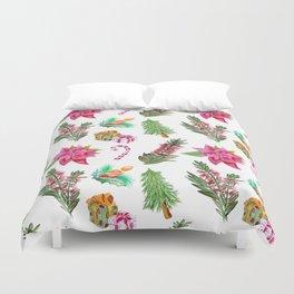 Christmas Pattern with Australian Native Bottlebrush Flowers Duvet Cover