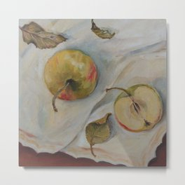 YELLOW APPLES Classic Still Life oil painting for kitchen Impressionism Metal Print
