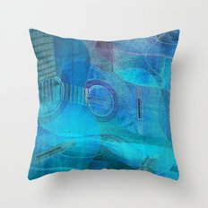 Guitar Study Blues Throw Pillow