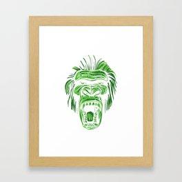 GORILLA KING KONG - Green Framed Art Print